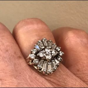 Jewelry - Vintage Sterling Silver & White Sapphire Ring
